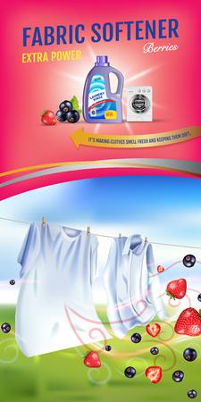 딸기 향기 섬유 유연제 젤 광고. 벡터 현실적인 세탁 옷 및 유연제 린스 컨테이너와 그림. 수직 배너