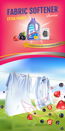 Berries fragrance fabric softener gel ads. Vector realistic Illustration with laundry clothes and softener rinse container. Vertical banner Ilustração