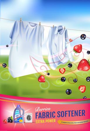 딸기 향기 섬유 유연제 젤 광고. 벡터 현실적인 세탁 옷 및 유연제 린스 컨테이너와 그림. 세로 포스터