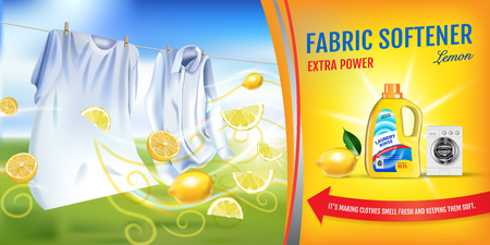 Lemon fragrance fabric softener gel ads. Vector realistic Illustration with laundry clothes and softener rinse container. Horizontal banner