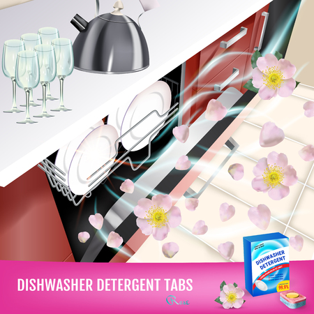 Vector realistic Illustration with dishwasher in kitchen counter and detergent package. Poster Illustration