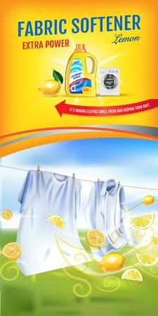 Anúncios de gel amaciante de limão com fragrância. Ilustração em vetor realista com roupas de lavanderia e amaciante enxaguar o recipiente. Banner vertical