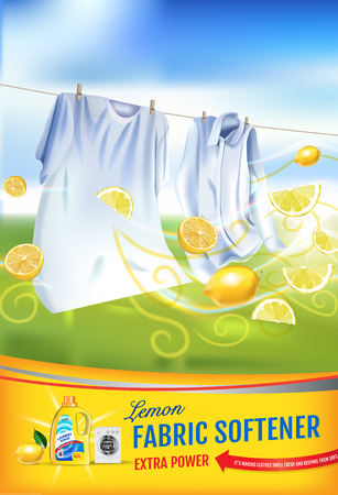 Vector realistic Illustration with laundry clothes and softener rinse container. Vertical poster