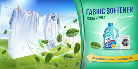 Vector realistic Illustration with laundry clothes and softener rinse container. Horizontal banner