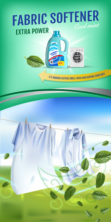 Vector realistische Illustratie met waskleren en container van de waterontharderspoeling. Verticale banner