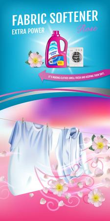 벡터 현실적인 세탁 옷 및 유연제 린스 컨테이너와 그림. 수직 배너