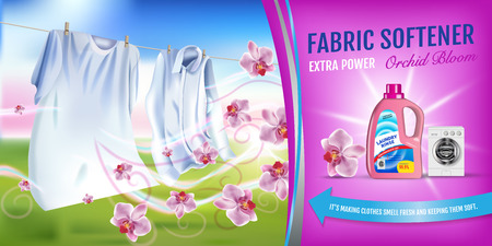 Illustration vectorielle réaliste avec des vêtements de lessive et un récipient de rinçage assouplissant. Bannière horizontale Vecteurs