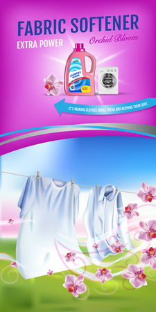 Vector realistic Illustration with laundry clothes and softener rinse container. Vertical banner