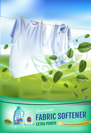 벡터 현실적인 세탁 옷 및 유연제 린스 컨테이너와 그림. 세로 포스터
