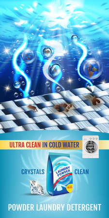Vector realistic Illustration with fiber structure is washed in water and product package. Vertical banner