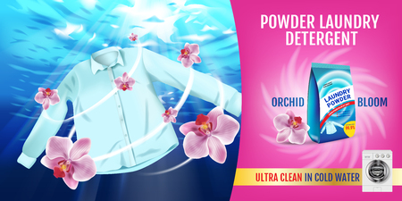 A realistic illustration with shirt is washed in water and product package. Illustration