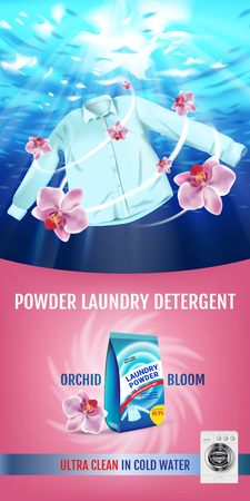 A realistic illustration with shirt is washed in water and product package. 일러스트