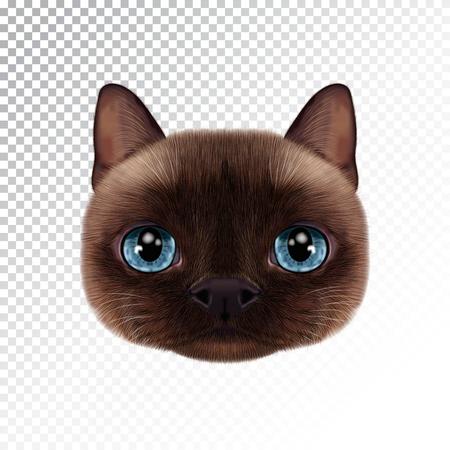 벡터 일러스트 레이 션 태국 고양이의 초상화입니다. 인감 점 고양이의 귀여운 현실적인 만화 얼굴입니다. 일러스트