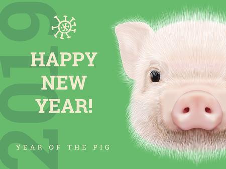 Felice Anno Nuovo 2019 anno della carta di carta maiale. Simbolo degli anni cinesi, segno zodiacale per biglietto di auguri, volantini e invito