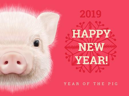 Feliz año nuevo 2019 año de la tarjeta de papel de cerdo. Símbolo de los años chinos, signo del zodíaco para tarjetas de felicitación, folletos e invitación