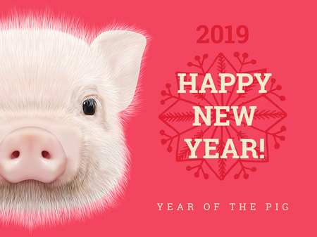 Happy New Year 2019 year of the pig paper card. Chinese years symbol, Zodiac sign for greetings card, flyers and invitation