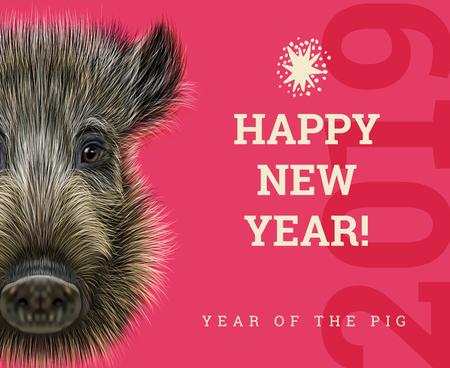 Feliz año nuevo 2019 año de la tarjeta de papel de cerdo. Símbolo de los años chinos, signo del zodíaco para tarjetas de felicitación, folletos e invitación con jabalí Ilustración de vector