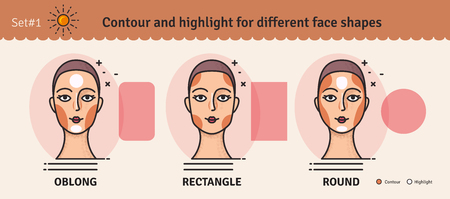 Set 1.Contouring and highlight makeup guide. Vector set of different types of woman face. Various makeup for woman face. Vector illustration.