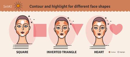 Set 2.Contouring and highlight makeup guide. Vector set of different types of woman face. Various makeup for woman face. Vector illustration.  イラスト・ベクター素材