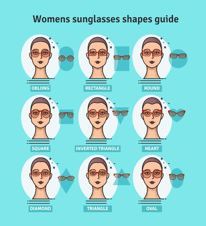 Sunglasses shapes guide. Womens sunglasses shapes matched with face shape. Various forms of sunglasses.