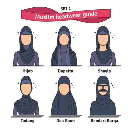 Muslim headwear guide. The set of different types of women headscarves. Vector icon colorful illustration. Çizim