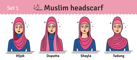 The set of different types of women headscarves. Vector icon colorful illustration. Çizim
