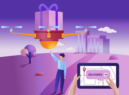 Drone or quadcopter delivery service concept. Vector illustration. Drone fly over the city and delivering a box. 矢量图像