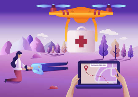 Drone or quadcopter medical emergency service concept. Vector illustration. Drone fly over the landscape and delivering ambulance equipment.