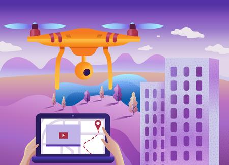 Drone o quadcopter con cámara de exploración 3d de la tierra. Drone vuela sobre el paisaje y realiza un mapeo geológico, video y fotos del campo.