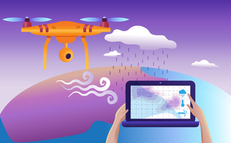Drone or quadcopter for meteorological. Vector illustration. Drone fly over the landscape and makes atmospheric measurements, video, and photos. Foto de archivo - 112400524