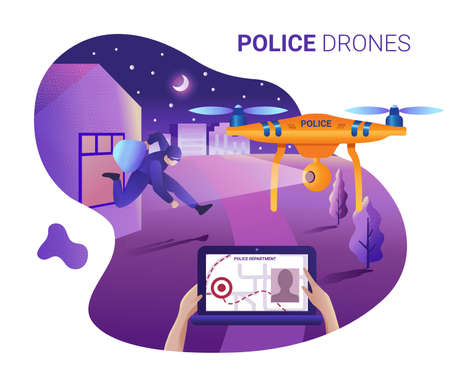 Drone or quadcopter for police. Drone fly over the city and makes identification of a thief at the crime scene. Hands controlling the drone via laptop.