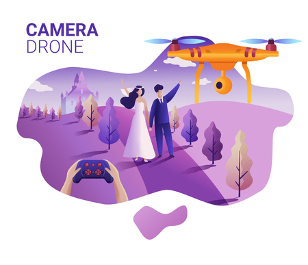 Drone or quadcopter for events. Drone fly over the wedding location and makes a video and photos. Hands controlling the drone via joystick. 矢量图像