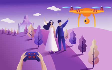 Drone or quadcopter for events. Drone fly over the wedding location and makes a video and photos. Hands controlling the drone via joystick. Illusztráció
