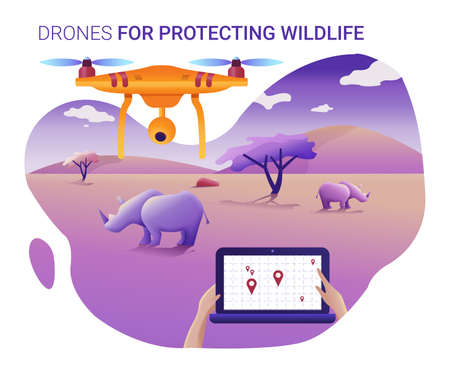 Drone or quadcopter for protecting wildlife.Drone fly over the landscape and makes geolocation and counting animals.