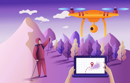 Drone or quadcopter for geolocation. Drone fly over the landscape and makes the search for the lost. Hands controlling the drone via laptop.