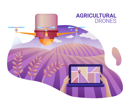 Drone or quadcopter for Agriculture. Drone fly over the field and makes spraying or watering. Hands controlling the drone via laptop.