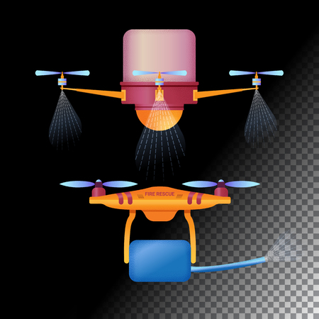 Drone or quadcopter flat icons. Unmanned aircraft of different purpose (agricultural and fire drones). Vector illustration Illustration