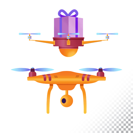 Drone or quadcopter flat icons. Unmanned aircraft of different purpose (delivery service and camera drone). Vector illustration