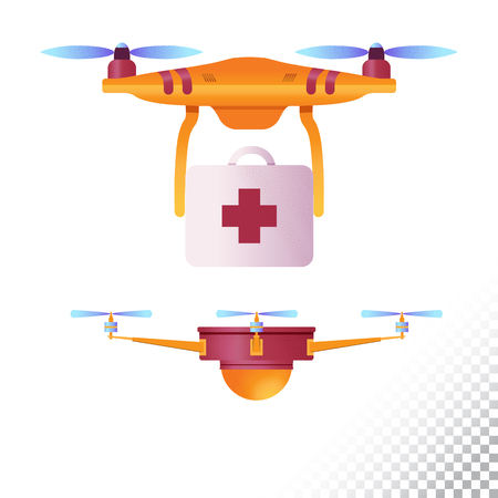 Drone or quadcopter flat icons. Unmanned aircraft of different purpose (medical emergency and etc). Vector illustration