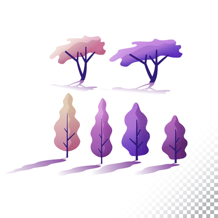Trees flat icons. Stylized different trees. Vector illustration on a