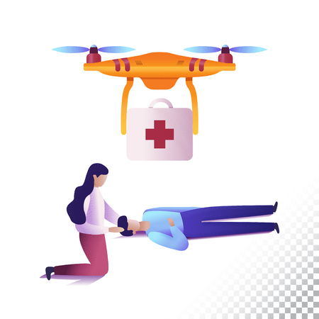 Drone or quadcopter flat icons. Unmanned medical emergency aircraft and people. Vector illustration