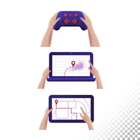 Digigtal tablet, laptop and drone joystick icons. Digital objects in the hands. Vector illustration
