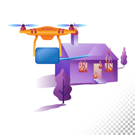 Drone or quadcopter flat icons. Firefighter Unmanned aircraft extinguishes the fire. Vector illustration 矢量图像