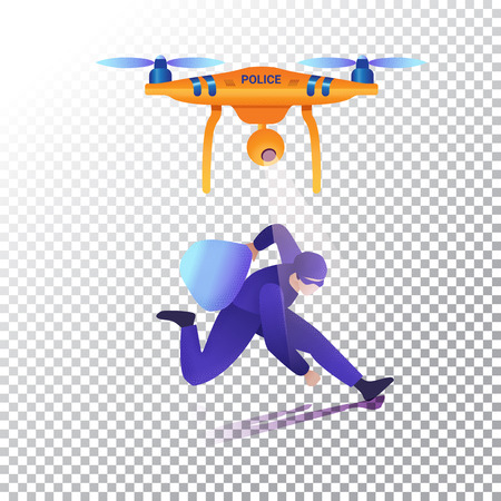 Drone or quadcopter flat icons. Police unmanned aircraft and criminal. Vector illustration