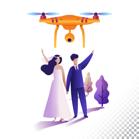 Drone or quadcopter flat icons. Camera aircraft shoot the wedding. Vector illustration Illusztráció