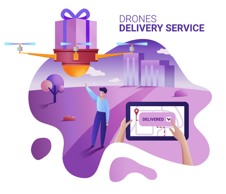Drone or quadcopter delivery service concept. Vector illustration of landing page template. Drone fly over the city and delivering a box. Hands controlling quadcopter via digital tablet. Banco de Imagens - 112400526