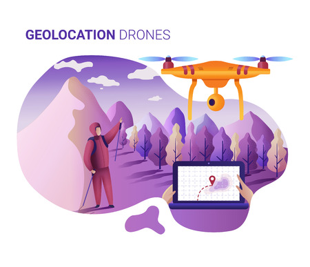 Drone or quadcopter for geolocation. Vector illustration of landing page template. Drone fly over the landscape and makes the search for the lost. Hands controlling the drone via laptop. Stock Photo