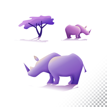 Rhinoceros flat icons. Stylized wild animals and a tree. Vector illustration on a transparent background. Banco de Imagens