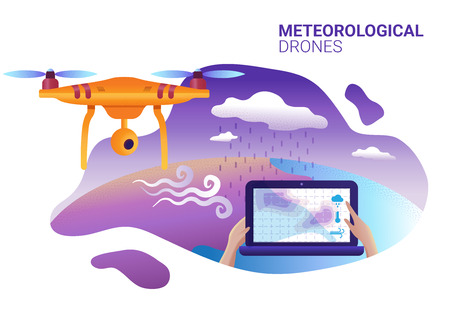 Drone or quadcopter for meteorological. Vector illustration of landing page template. Drone fly over the landscape and makes atmospheric measurements, video, and photos. Illustration