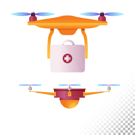 Drone or quadcopter flat icons. Unmanned aircraft of different purpose medical and etc .